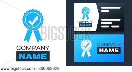 Logotype Approved Or Certified Medal With Ribbons And Check Mark Icon Isolated On White Background.