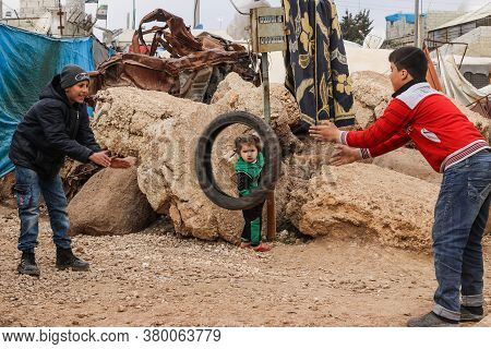 Aleppo, Syria, 10 December 2019\\na Group Of Refugee Children Play Inside The Camp