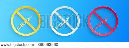 Paper Cut No Vaccine Icon Isolated On Blue Background. No Syringe Sign. Vaccination, Injection, Vacc