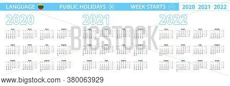 Simple Calendar Template In Lithuanian For 2020, 2021, 2022 Years. Week Starts From Monday. Vector I