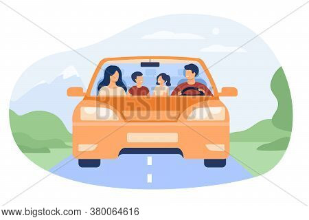 Happy Family Travelling In Automobile Isolated Flat Vector Illustration. Front View Of Cartoon Fathe