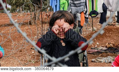 Syria, Aleppo October 16, 2019\nbeautiful Refugee Children Smiling At The Camera