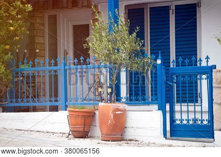 Greek specific - Traditional blue door and windows in Thassos island, Greece.