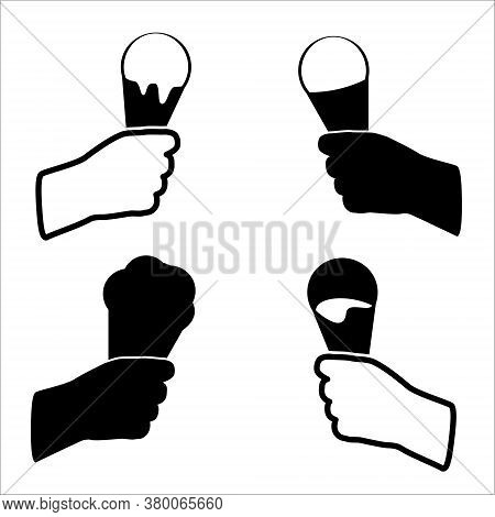 Ice Cream In Hand. Vector Black And White Ice Cream. Ice Cream Illustration. Ice Cream Objects, Mode