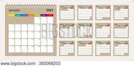Calendar 2021 Colorful Design, Set Of 12 Vector Wall Planner Calendar Pages On Beige Background. Wee