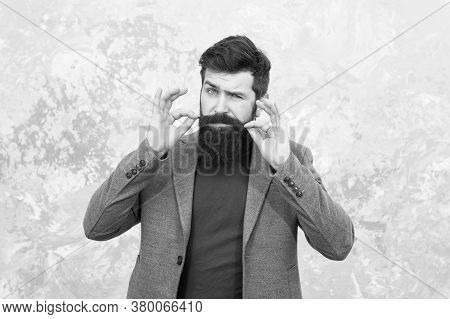 Grow Facial Hair. Hipster Appearance. Stylish Beard And Mustache. Beard Fashion And Barber Concept.