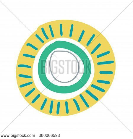 Cartoon Fantasy Doodle Sun In Childlike Style With Rays Isolated On White Background. Abstract Ring