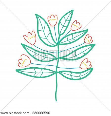Cute Cartoon Flower In Childlike Doodle Style. Fantasy Floral Element Isolated On White Background.