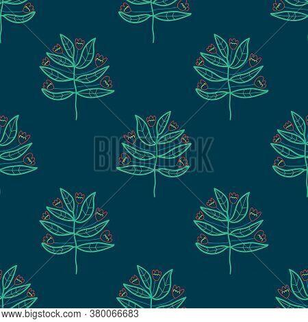 Cute Cartoon Flowers In Childlike Doodle Style Seamless Pattern. Fantasy Floral Background. Dark Col