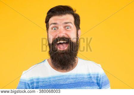 Real Surprise. Man Bearded Stylish Beard Yellow Background. Barber Tips. Wow. Beard And Mustache. Hi