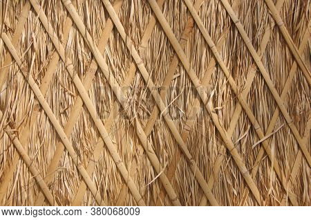 Traditional Thatch Wall Roof Background, Hay Or Dry Grass Background, Thatched Roof, Grass Hay, Dry