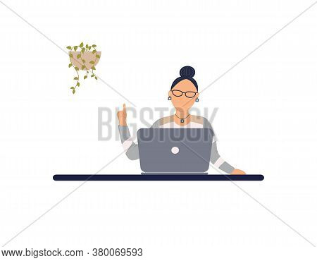 Adorable Woman Tutor Work On Laptop.remote Work, Distance Learning Or Online Training During The Vir