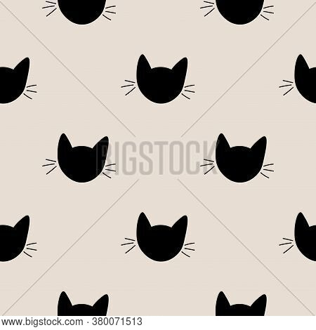 Seamless Pattern With Cute Cat Muzzles. Animal Polka Dot Background. Feline Wrapping Paper. Vector I