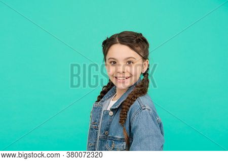 Always Make Room For Little Beauty In Your Life. Happy Kid Smile Blue Background. Beauty Look Of Lit