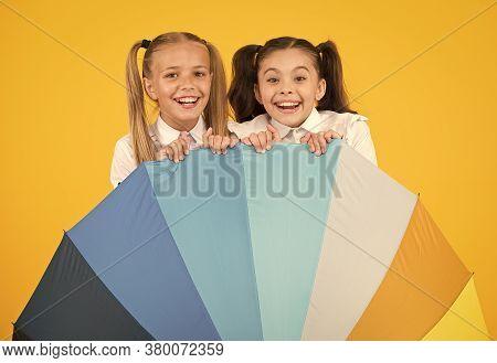 Rainbow Umbrella. Colorful Life. Schoolgirls Happy Big Umbrella. Fall Weather Forecast. Place For Bo