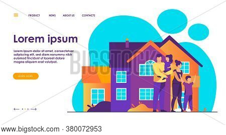 Happy Family Standing Together In Front Of House Flat Vector Illustration. Cartoon People Posing For