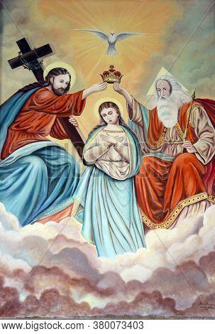 JOSIPOVO, CROATIA - NOVEMBER 25, 2013: Coronation of the Virgin Mary, chapel of Mary Queen of Heaven in Josipovo, Croatia