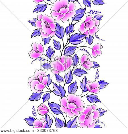 Floral Background. Flower Rose Bouquet Seamless Decorative Garland Border. Flourish Spring Floral Gr