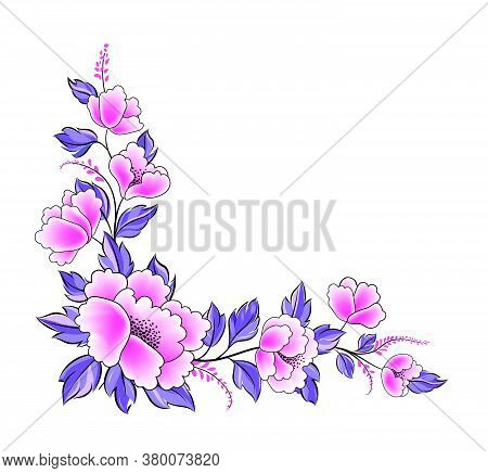 Floral Background. Flower Rose Bouquet  Decorative Garland Border. Flourish Spring Floral Greeting C