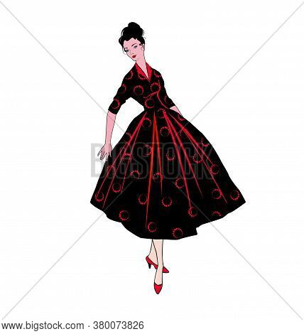 Stylish Fashion Dressed Girl (1950's 1960's Style): Retro Fashion Dress Party. Summer Clothes Vintag