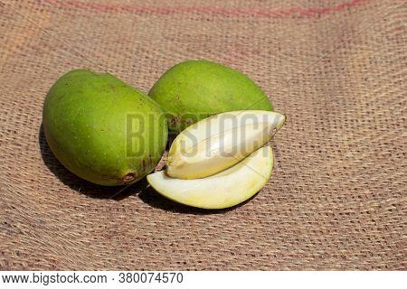Raw Mango Isolated On Burlap Fabric Background