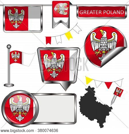 Glossy Icons With Flag Of Greater Poland, Poland Country. Vector Image