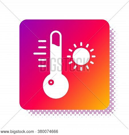 White Meteorology Thermometer Measuring Icon Isolated On White Background. Thermometer Equipment Sho