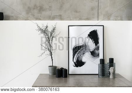 Table With Home Decor In Living Room. Modern Interior House With Abstract Painting In Frame, Housepl