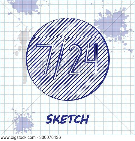 Sketch Line Clock 24 Hours Icon Isolated On White Background. All Day Cyclic Icon. 24 Hours Service