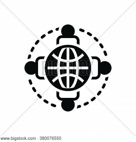 Black Solid Icon For Connected-persons-around-the-earth Unity Nationality Planet Holding-hand Organi