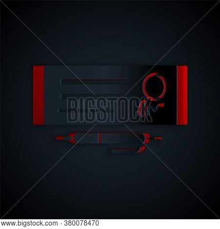 Paper Cut Blank Template Of The Bank Check And Pen Icon Isolated On Black Background. Checkbook Cheq