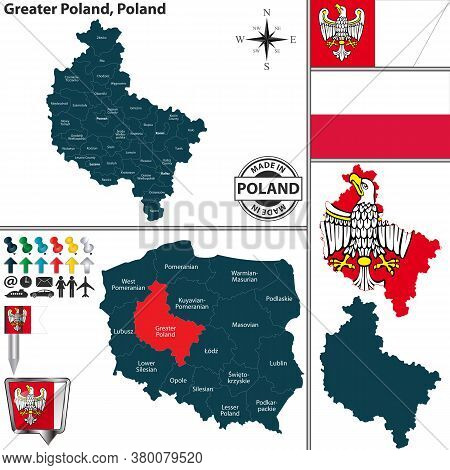 Vector Map Of Greater Poland Province And Location On Polish Map
