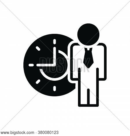 Black Solid Icon For People-time Management Delay Schedule Patience Waiting