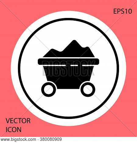 Black Coal Mine Trolley Icon Isolated On Red Background. Factory Coal Mine Trolley. White Circle But