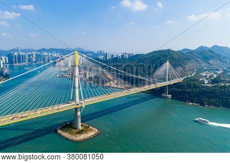 Tsing Yi, Hong Kong 24 November 2020: Drone fly over Hong Kong city