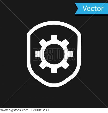 White Shield With Settings Gear Icon Isolated On Black Background. Adjusting, Service, Maintenance,