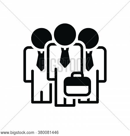 Black Solid Icon For Businessman-team Gathering  Organization Tandem Troupe Lineup Aggregation Unity