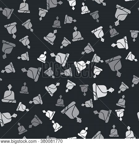 Grey Buddhist Monk In Robes Sitting In Meditation Icon Isolated Seamless Pattern On Black Background