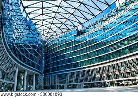 Futuristic, Modern Piazza Città Di Lombardia, Lombardy City Square Under Palazzo Lombardia, Lombardy