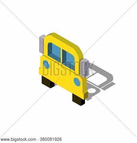 School Bus Icon. Flat Illustration Of School Bus Vector Icon. School Bus Sign Symbol Eps