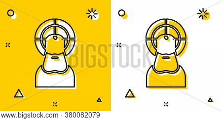 Black Jesus Christ Icon Isolated On Yellow And White Background. Random Dynamic Shapes. Vector Illus