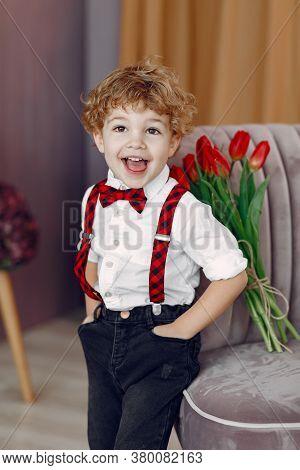 Elegant Little Boy In A Studio With Bouquet Of Tulip