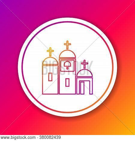 Color Line Church Building Icon Isolated On Color Background. Christian Church. Religion Of Church.