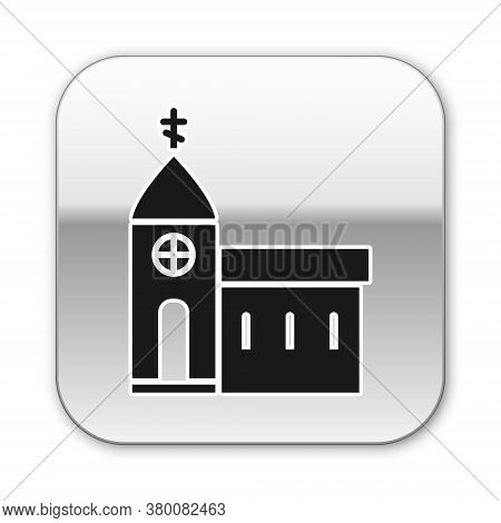Black Church Building Icon Isolated On White Background. Christian Church. Religion Of Church. Silve