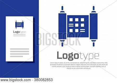 Blue Decree, Paper, Parchment, Scroll Icon Icon Isolated On White Background. Chinese Scroll. Logo D
