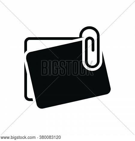 Black Solid Icon For Office-paperclip-with-notes Stationary Attach Pin Tack Paper Accessory Object N