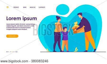 Happy Family With Child Adopting Pet. Father Giving Box With Puppy Dog To His Son. Vector Illustrati