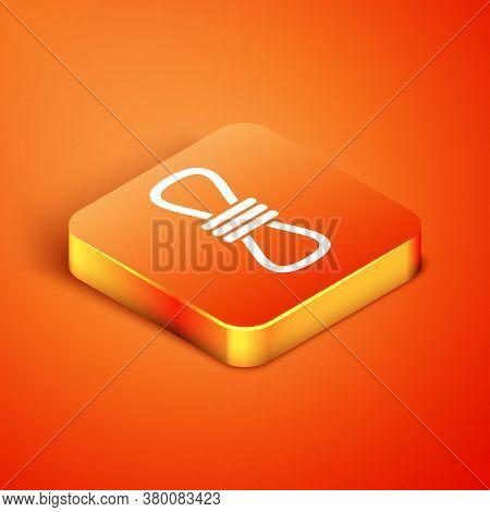 Isometric Climber Rope Icon Isolated On Orange Background. Extreme Sport. Sport Equipment. Vector Il