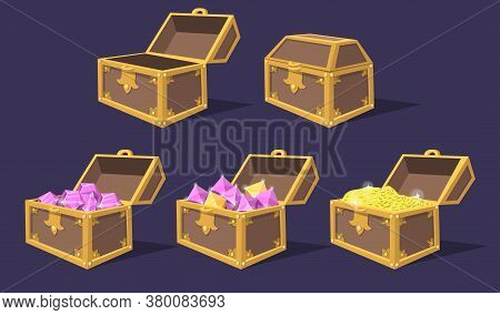 Closed And Open Colorful Treasure Chests Flat Icon Set. Cartoon Bright Pirate Chests With Gems And C