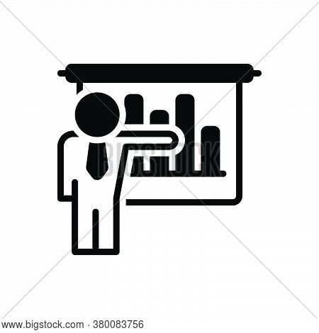 Black Solid Icon For Businessman-presenting-bars-graphic Demonstration Ascendant Achievement Present